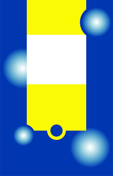blank for packaging, blue and yellow rectangles with circles on a blue background