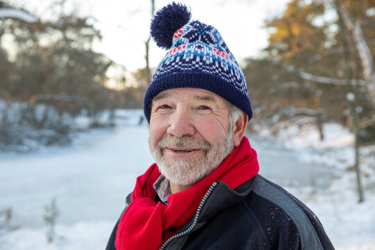 Senior man in warm clothing during winter