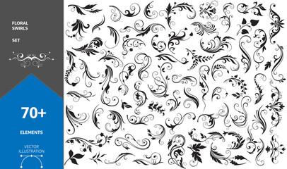 Fototapeta Big Set of Design Decorative Elements. Floral Swirls. Stock Vector obraz