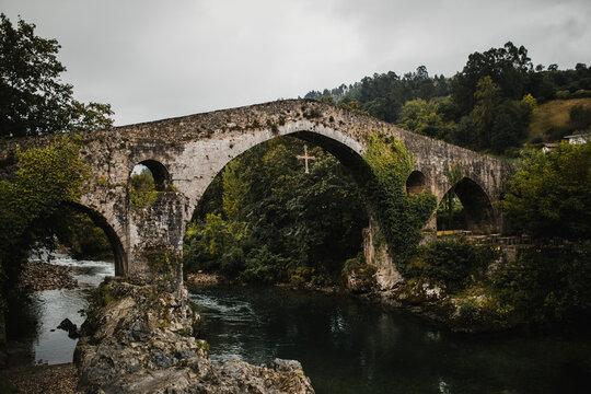 Medieval arch bridge over Sella river, Cangas de Onis, Spain
