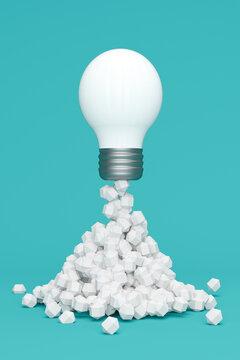Three dimensional render of white light bulb blasting off like rocket