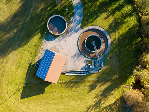 Aerial view of a wastewater treatment plant in autumn, Bavaria, Germany