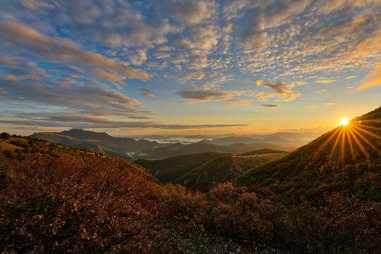 Apennine Mountains at sunrise, Umbria, Italy