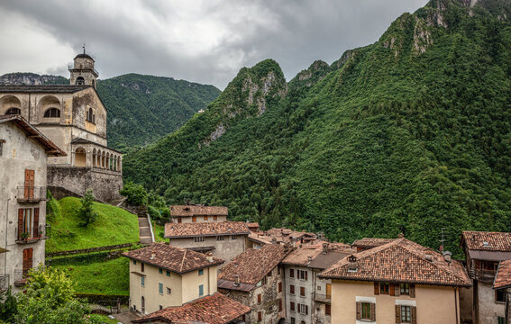 Houses near San Giorgio church in Baglino, Province of Brescia, Lombardy, Italy
