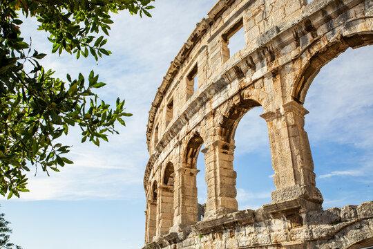 Croatia, Istria County, Pula, Exterior of Pula Arena amphitheater