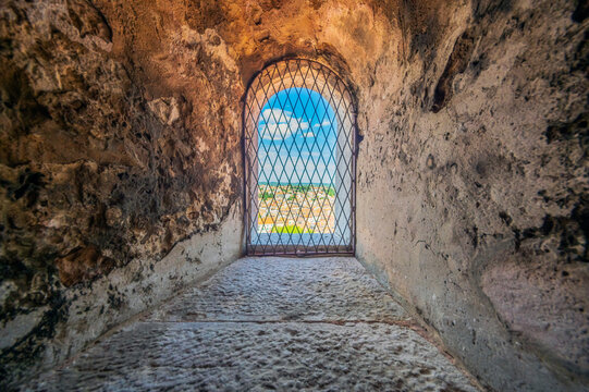 View to Rovinj through a barred window, Istria, Croatia