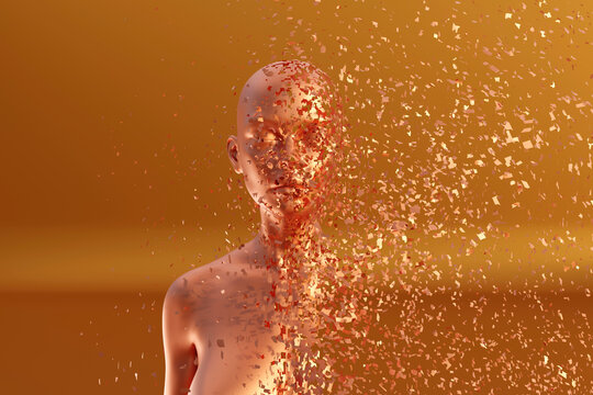 3D illustration of female character dissolving into pieces