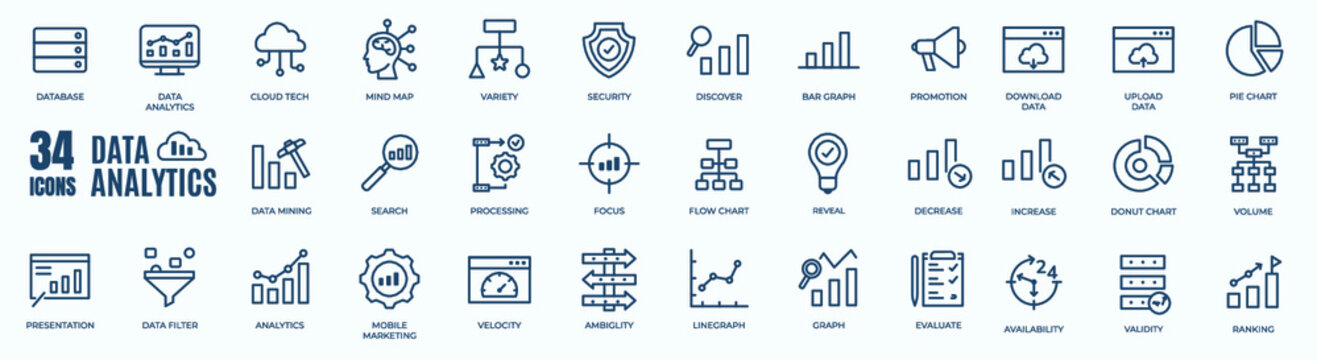 Editable line of big data analysis, statistics, analytics - minimal thin line web icon set. Outline icons collection. Simple vector illustration
