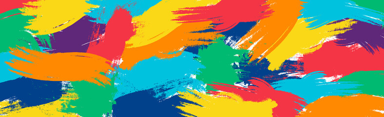 Obraz Realistic rainbow colored paint strokes on panoramic background - Vector - fototapety do salonu