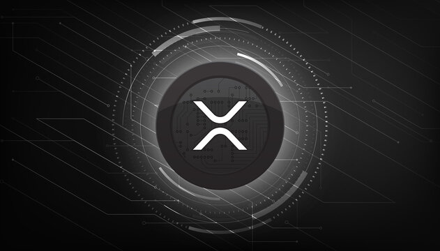 Ripple (XRP) crypto currency themed banner. Ripple coin or XRP icon on modern black color background.