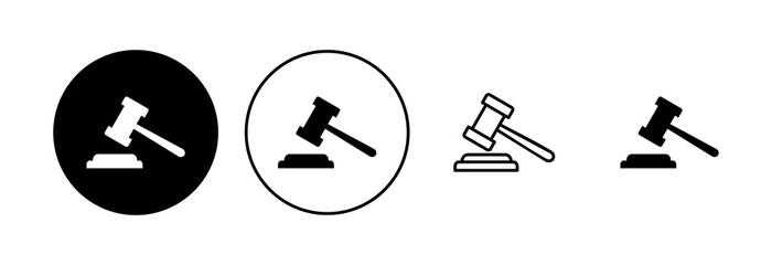 Obraz Gavel icon set. judge gavel icon vector. law icon vector. auction hammer - fototapety do salonu