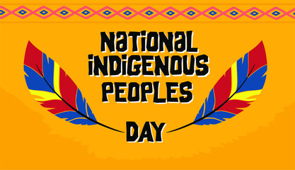 Fototapeta national indigenous day with colorful feathers and yellow background obraz