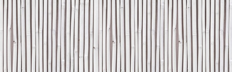 Panorama of White old Bamboo fence texture and background seamless