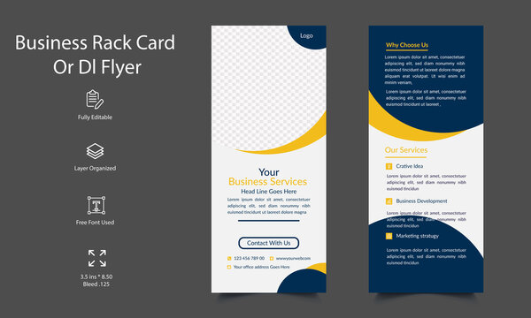 DL Flyer Template Or Rack Card for Corporate  Business