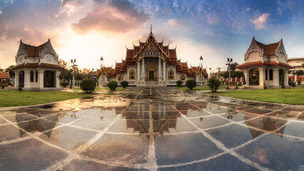 Marble Temple of Bangkok, Thailand, Wat Benchamabophit, Bangkok, Amazing Thailand Tourist attractions in Marble Temple Panorama