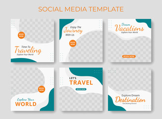 Obraz Editable template post for social media ad. Instagram template post. web banner ads for travel promotion .design with blue and orange color.  - fototapety do salonu
