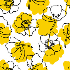 Seamless floral pattern Buttercup flower, Crowfoot vector illustration isolated on white background, decorative line art herbal texture, backdrop for design wedding invitation, cosmetic, greeting