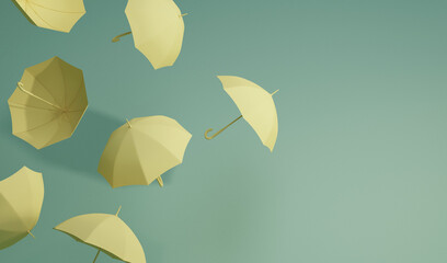 Obraz Minimal idea Floating yellow umbrella on front and top view. Classic accessory for rain protection in spring, autumn or monsoon season, copy space for your text. 3d rendering   - fototapety do salonu