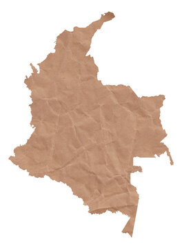 Map of Colombia made with crumpled kraft paper. Handmade map with recycled material.