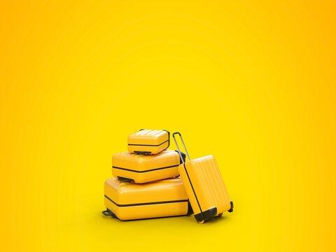 Plusieurs valises pour partir en vacances - Fond jaune - Rendu 3D