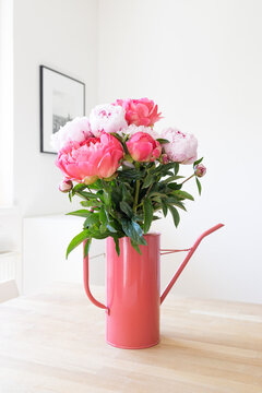 Bouquet of pink peonies in a matching pink watering can