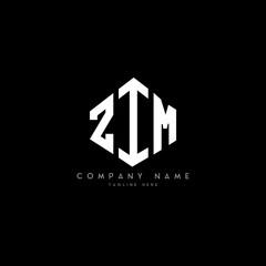 Fototapeta ZIM letter logo design with polygon shape. ZIM polygon logo monogram. ZIM cube logo design. ZIM hexagon vector logo template white and black colors. ZIM monogram, ZIM business and real estate logo.  obraz