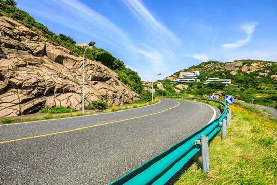 Empty asphalt road and green mountain nature landscape.Highway and mountain background.