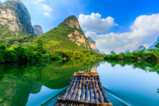 Beautiful mountains and clean water in Guilin,Guangxi,China.Famous holiday destination.