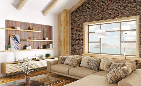 Interior of modern living room with big window, cozy home design with beige sofa and wooden paneling 3d rendering