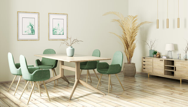 Interior design of modern dining room, wooden table and gree chairs 3d rendering