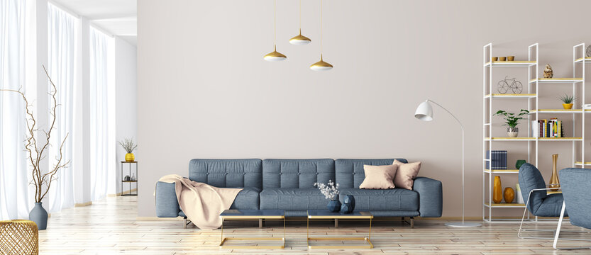 Modern interior design of apartment. Cozy living room with blue sofa, coffee tables, bookshelf and armchairs. Scandinavian home. 3d rendering