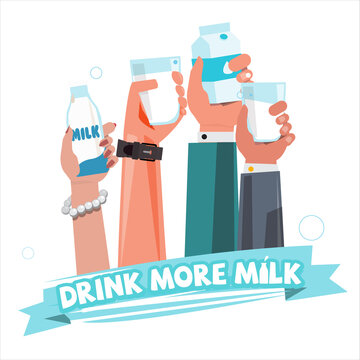 People hand with milk. drink more milk concept - vector