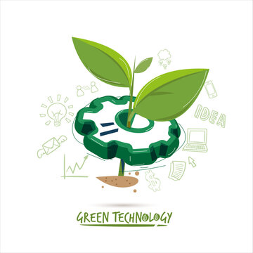 gear with little plant - eco technology concept - vector illustration