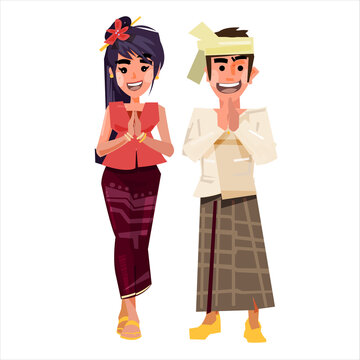Myanmar couple in traditional costume - vector