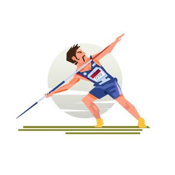 Javelin throwers - vector illustration.