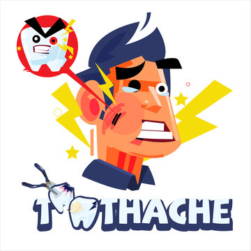 guy with toothache. pain emotional - vector