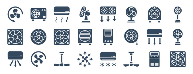 Fototapeta set of 24 air ventilation web icons in glyph style such as air conditioner, air cooler, ceiling fan, ceiling fan, cooler, conditioner. vector illustration. obraz