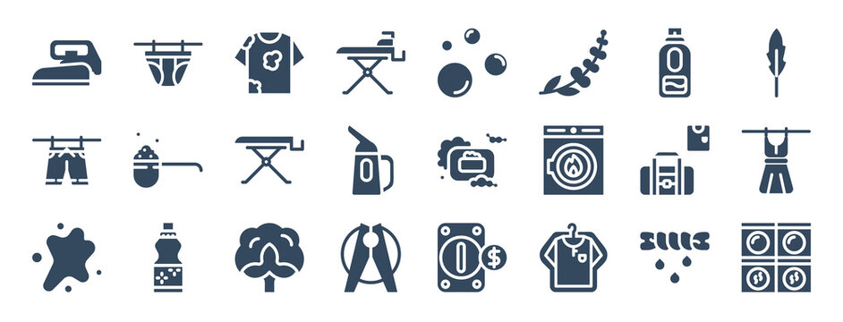 set of 24 laundry web icons in glyph style such as stain, foam, cotton, t shirt, washing machine, bags. vector illustration.