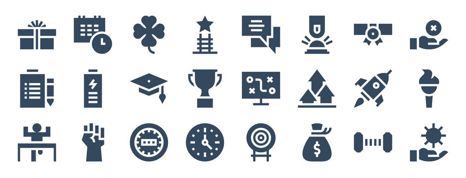 set of 24 motivation web icons in glyph style such as clover, strategy, speedometer, money bag, positivity, rocket. vector illustration.