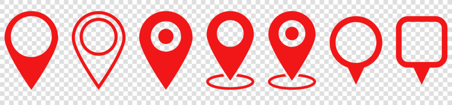 Set of red map pin icons. Modern map markers. location pin sign. Vector icon isolated on transparent background
