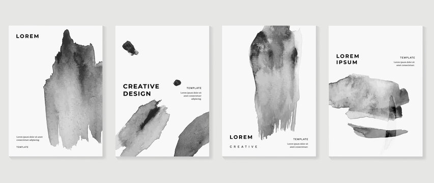 Cover design vector set. Watercolor book cover design, Abstract art design with colorful watercolor background. Can be use for poster, wall arts, magazine,  brochure , banner and website.