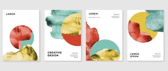 Obraz Cover design vector set. Watercolor book cover design, Abstract art design with colorful watercolor background. Can be use for poster, wall arts, magazine,  brochure , banner and website. - fototapety do salonu