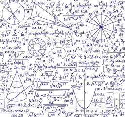 Obraz Scientific vector seamless pattern with handwritten technical formulas, physics and math equations and figures  - fototapety do salonu