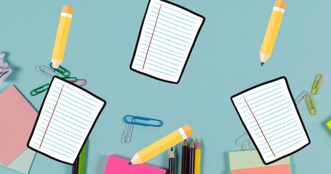 Composition of notebook pages and yellow pencils floating over desk with stationery