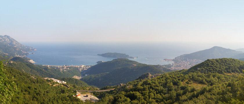 Top view of the seacoast of Budva riviera. Montenegro.