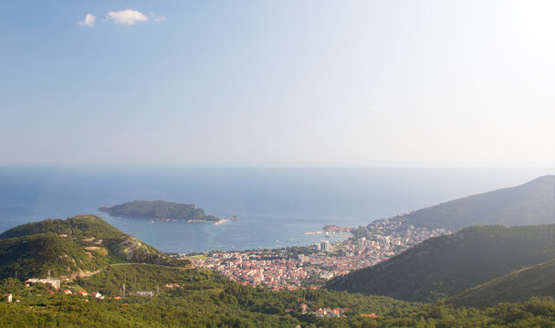 Top view of the Budva city and its coast. Montenegro.