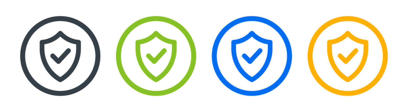 Shield with check mark on circle button. Security vector icon collection.