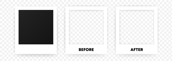 Obraz A collection of blank photo frames. Empty framing for your design. Vector template for picture, painting, poster, lettering or photo gallery. Vector EPS 10. Isolated on transparent background - fototapety do salonu