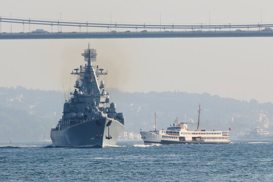 The Russian Navy's guided missile cruiser Moskva sets sail in Istanbul's Bosphorus