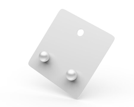 Blank hang tab card jewelry for branding mockup, 3d render illustration.